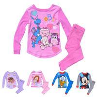 Kids Pajamas Baby Girls Boys Cartoon Cotton Sleepwear Princess Sophia Long Sleeve Pants Children Clothing Set Pijama Purple Pink
