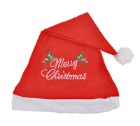 "5pcs/lot Red Non Woven Fabric Christmas Hat / ""Merry Christmas"" Letter Embroider Santa Claus'cap for Party Event Decoration Xmas"