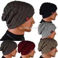2014 new reversible knit beanie hat cap winter men & women hat beanie men Skull Chunky Baggy Warm Cap,WtL