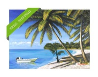Handpainted coconut tree nearby blue sea canvas painting for living room wall decoration Frameless 70*140cm free shipping