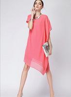 2014 women new oblique hem chiffon dress short sleeve vest dress tank Mini dresses