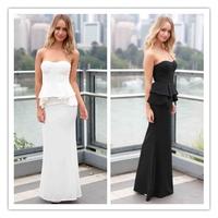 Sexy Women Bandeau Party Evening Elegent Black Strapless Peplum Maxi Long Dress LC6733 vestido de festa longo Dress