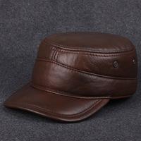 Leather Mens head layer cowhide Kepi autumn winter warm male cap outdoor earmuffs