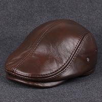 Men's autumn / winter Leather Hat Beret Korean elderly outdoor leisure warm workman's cap