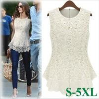 New Summer Women lace blouses sleeveless Desigual Female Sexy Crochet Tops Plus Size Blusa De Renda S-5xl