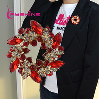 2014 New Fashion Jewelry Blue Red Orange Color Imitation Gemstone Flower Brooch For Women Accessories