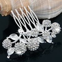 3PCS Silver Plated Crystal Cherry Bridal Tiara Hair Slide Comb Pin