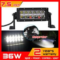 7.5 inch 36w LED Work Light Bar 12v 24v IP67 Tractor ATV Offroad Fog Light Spot Flood Worklights External Light Save on 60w