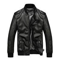 Young Man Leather Motorcycle Jacket Plus Size M-5XL Street Fashion Brand Men Windprroof & Waterprrof Casual Coats