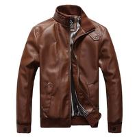 Korean Fashion Man Windproof Leather Jacket Large Size M-5XL Black & Brown Men's Clothing Mandarin Collar Men Casual Coats