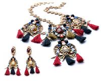 Gypsy Bohemian Beachy Chic Statement Necklace Earring Set Thread Fringe Bib Resin Gem Ethnic Turkish India Tribal