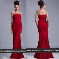 HL-EN1246 Fashion 3/4 Tulle Crystal Sleeve Red Chiffon Mermaid Evening Dress Special Occasion dress party vestido de festa 2014