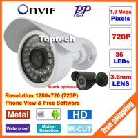 Promotion HD 720P 1.0 Megapixels 36 IR LEDs night vision Outdoor Waterproof network CCTV IP camera P2P ONVIF 2 PC&Phone view