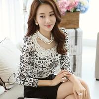 2014 New Women Diamonds Blouses Long Sleeve Lady Spring Elegant Lace Shirts Autumn Female Clothing Tops Blusas Mujer