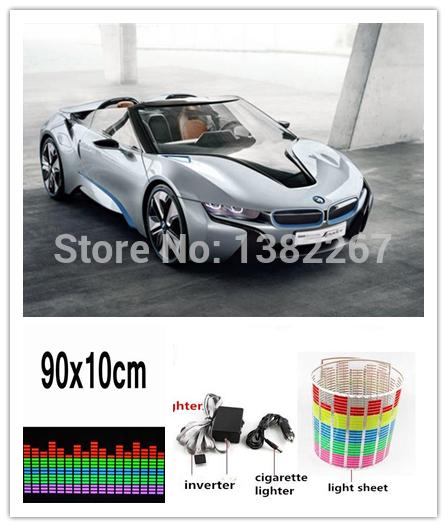Hotselling 10sets/lot 90*10cm trellis diagram car Music Rhythm Lamp EL Sheet led car music Sticker led Music Activated Equalizer(China (Mainland))