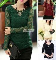 2014 New Autumn Women lace blouses Korean casual Female work wear long shirts camisete feminina Camisas Femininas renda
