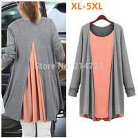 spring autumn new fashion women's knitting loose Plus size long sleeve T-shirt cardigan Fake two piece Tees big yards Tops XXXXL