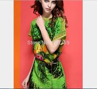 2014 Summer New Women's Dress Ladies Loose Round Neck Short Sleeve Butterfly Printed Dress Vintage Dress Women