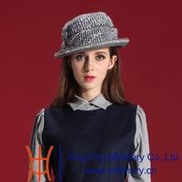 Autumn and Winter Women Hats 2014 New Fashion Dress Vestidios Wool Felt Hat Natural 100% Wool Elegant Hat Grey Diamond Casing