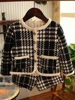 Fashion girls classic black and white check set 2 pcs winter clothes set  check coat + short pants set