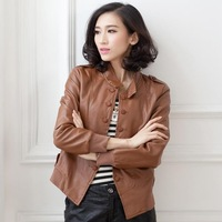Personality Design Women Fashion Jackets Large Size M-5XL Button Decoration Slim Fit Comfortable Lady PU Leather Outwear