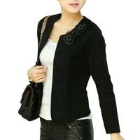 2014 New Lady Fashion Slim Jackets Plus Size M-4XL Woman Thin Coats Flower & Bow Decoration Women Cardigans Autumn Clothing