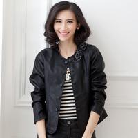 Comfortable Design Women PU Leather Jackets Plus Size L-4XL Appliques Decoration Top Quality Simple Lady Fashion Outwear