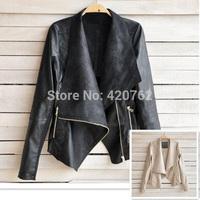 Fashion 2014 New Vintage Women Winter Slim Biker PU Soft Leather Zipper Cool Jacket Coat Clothing Free Shipping Dropshipping