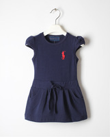 2014 New Autumn Summer Baby Kids Short Sleeve Cotton Girls Dress 4 colors 2-6T POLO Casual Fashion Sport Children Clothing