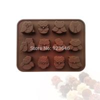 New Style  , Silicone Cake Mold 12 hole Night Owl Shape Chocolate Mold Handmade Soap Bakeware Mold
