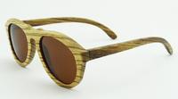 2014 fashion summer gafas de sol Purely Hand Made Sun glasses bamboo zebra frame brown  Lens z6027