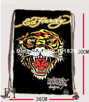 Ed Hardy Drawstring bag Sports Tiger Backpacks canvas Book Shoe school Clothes Travel Outdoor custom kids drawstring bags(China (Mainland))