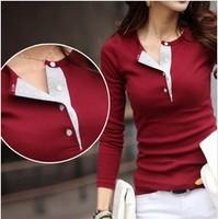 2014 Autumn New Fashion Cotton T shirts Women tops Korean T Shirt , Sexy Button Neck Slim Top Long Sleeve women Blouses Shirt