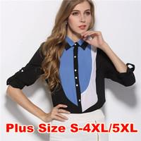 Blouse Shirt Chiffon S-XXXXL/5XL Plus Size Camisas Women Clothing Casual Shirt Blusas Femininas Roupas 2014 Fashion Women Tops