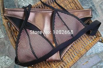2014 бесплатная доставка прохладный женщины леди Triangl купальники неопрена бикини Superfly купальник сетка неопрена купальники set Top + брюки