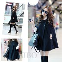 2014 new autumn winter women fashion solid maternity bat type loose big yards cape shawl woolen overcoats