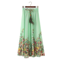 Wholesale New National Wind Printed Skirts Chiffon Skirt Bohemian Long Skirt Spring