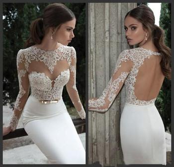 2015 элегантный свадебные платья атласная свадебные и события платья свадебные платья Noiva новое поступление с длинным рукавом чистой кружева русалка платье