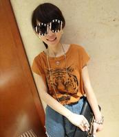 2014 Fashion Clothing Women Prints Shirts Causal Short-sleeve Tiger T-shirts Top Tee LSP1871XGJ