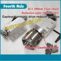 100:1 CNC Router Rotational Axis Engraving machine 4th axis A axis Dividing head Gapless harmonic reducer K11 100mm 3-jaw chuck