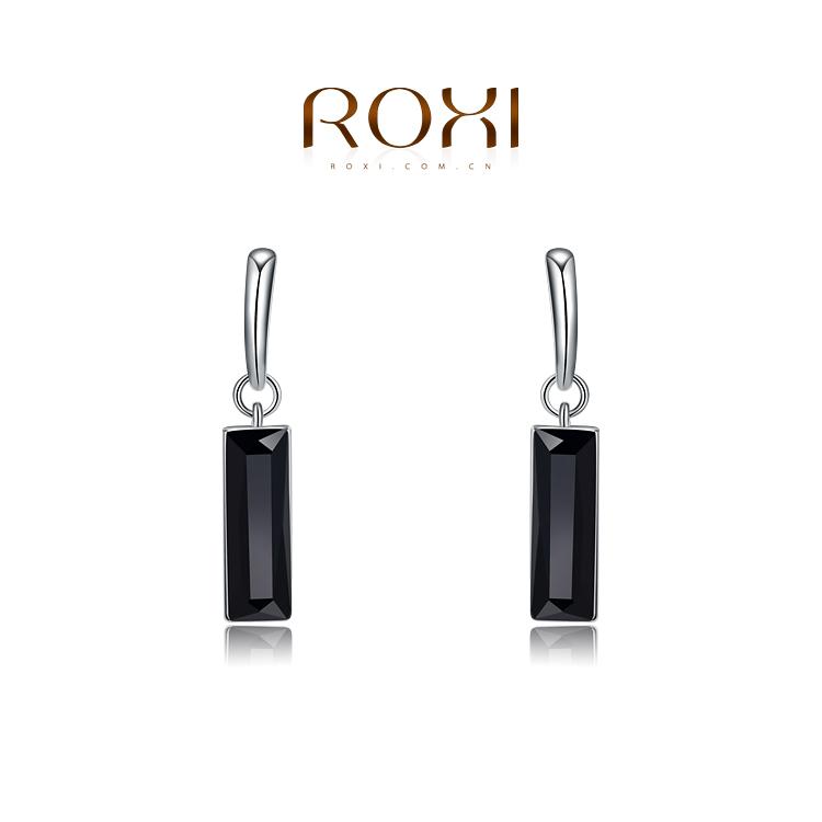 2015 Fashion ROXI Jewelry Platinum Plated Austrian Crystal Square Black CZ Diamond Drop Earrings For Women Party Brand Jewelry(China (Mainland))