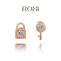 ROXI  Wholesale fashion White Rose Gold Plated Austrian crystal lock Stud Earrings,20141008-20