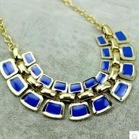 Vintage clavicle chain necklace Luxury Stylish geometric squares Pendant Multicolor Simulated gemstone women Xmas gifts 5pcs