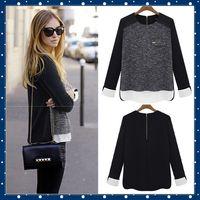 Free Shipping!2015 Summer Women Shirt Clothes Fashion Blusas Femininas Chifon Tops Wear Vintage Black Blouse Plus size Tonsee