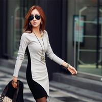 2015 New Year Women Work Wear Dress Ladies O-neck Office Dress Black Sexy Long Sleeve Patchwork Pencil Dress Bodycon Vestidos