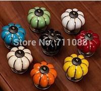 New arrival cartoon cute pumpkin ceramic drawer handle single hole kitchen cabinet door handles