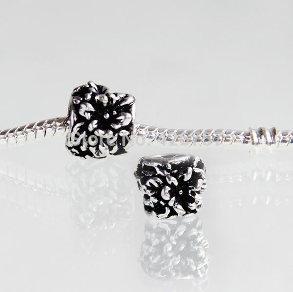 10pcs 10mm Antique silver flower big hole beads DIY zinc alloy big hole beads fit Pandora