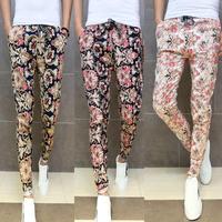 Pants 2014 new mens floral print pants Korean long trousers totem printing elastic stretch pants feet Slim casual pants flower