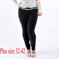 Black fat women skinny jeans Plus size 32-42 rhinestone denim pencil pants zipper large size slim trousers 2014 free shipping!