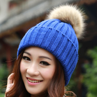 Brand 2015 Winter Hats for women Candy Beanie Knitted Caps Crochet Hat Rabbit Fur Pompons Ear Protect Casual Cap Chapeu Feminino